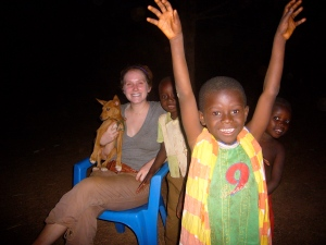 Tegan and me with typical African children posse